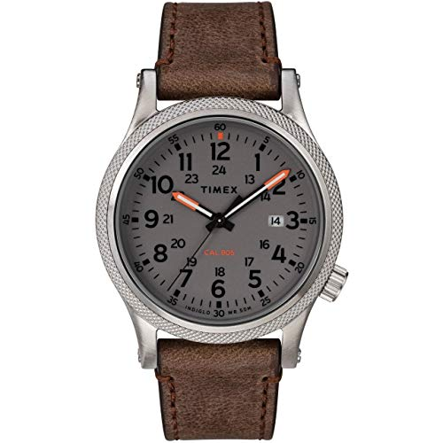 Timex Men's Allied LT 40mm Watch – Gray Dial & Silver-Tone Case with Brown Leather Strap