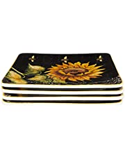 """Certified International French Sunflowers Salad/Dessert Plate, 8.25"""", Set of 4, Multicolored"""