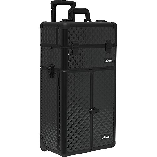 SUNRISE Makeup Case on Wheels 2 in 1 Professional Trolley I3466, French Doors, 6 Trays and 2 Drawers, Adjustable Dividers, Locking with Mirror and Shoulder Strap, Black Diamond by SunRise