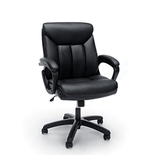 Essentials Leather Executive Computer/Office Chair with Arms – Ergonomic Swivel Chair, Black (ESS-6020-BLK)