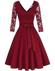 KOJOOIN Damen Vintage 50er V-Ausschnitt Abendkleid Rockabilly Retro Kleider Hepburn Stil Cocktailkleid(Verpackung MEHRWEG)