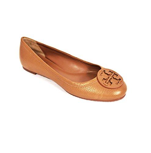 Tory Burch Shoes Reva Ballet Classic Flats TUMBLED Leather TB Logo ROYAL TAN (10)