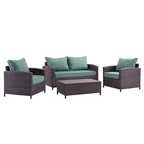 Urban Home Furniture 07-1004-08-60 Belize 4PC Sofa Outdoor Conversation Set, Brown/Green