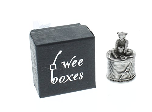 ae-williams-pewter-tiny-trinket-wee-box-teddy-bear-on-a-thimble-sewing