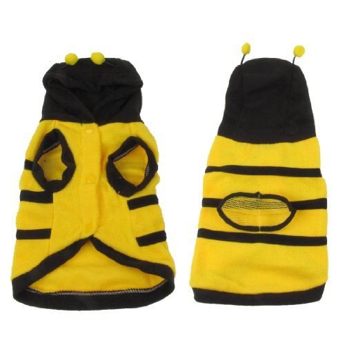 [Water & Wood Xmas Costume Yellow Black Fleece Bee Design Hooded Dog Coat Pet Clothes L] (Costume Design Carol)