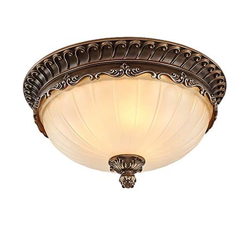 Industrial Round Glass Porch Ceiling Light, Modern Semi-Flush Mount LED Vintage Bedroom Ceiling Lamp, Hallway Decorative Ceiling Mount Hanging Light Kitchen Balcony Antique Terrace Chandelier (47cm) -
