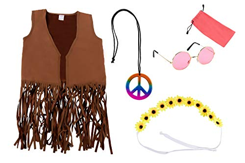 60s 70s Hippie Costume Accessories - 5-Set with Vest Headband Glasses Pouch Necklace for Kids