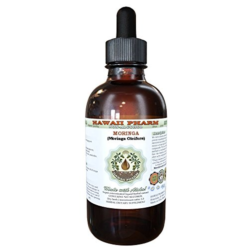 Moringa Alcohol-FREE Liquid Extract, Moringa (Moringa Oleifera) Leaf Glycerite Natural Herbal Supplement, Hawaii Pharm, USA 2 oz