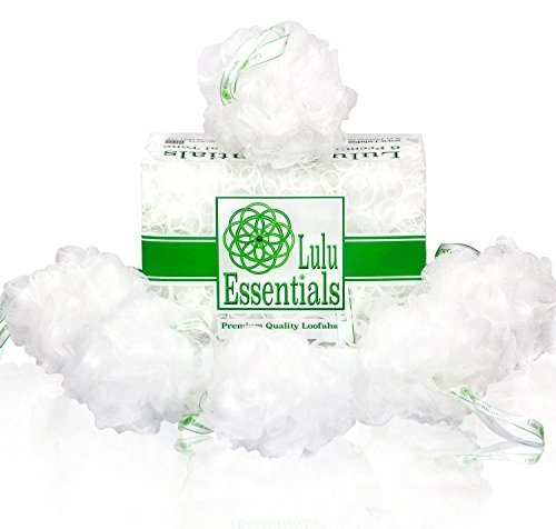Lulu Essentials Premium Quality Loofah (6 Pack) Snow White Puffs :: Lulu Luffas are Designed Better to Last Longer than the average Shower Sponge, Mesh Poufs, Body Loofa or Bath Scrub]()