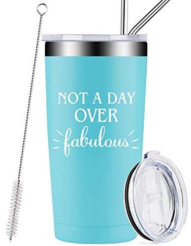 Not A Day Over Fabulous, Stainless Steel Insulated Mug Tumbler with Lid and Straw, Funny 21st 40th 50th 60th 70th Birthday, Retirement Gifts for Women, Her, BFF, Mom, Aunt, Sister, Wife, Coworker