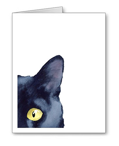 ''Sneaky Black Cat'' - Set of 10 Note Cards With Envelopes by DJ Rogers Fine Art