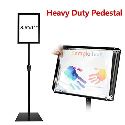 T-SIGN Adjustable Heavy Duty Pedestal Poster Stand, Square Steel Base, 11 x 8.5 Inch Aluminum Snap Open Frame Vertical and Horizontal Displayed, Black