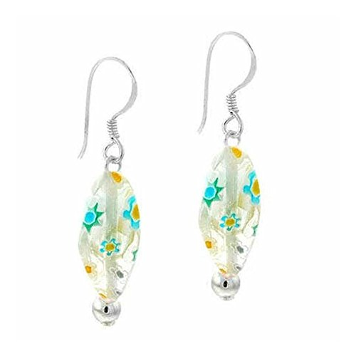 Sterling Silver White & Blue Millefiori Murano Glass Oval Bead Earrings