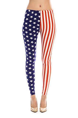 Women's American Flag Ankle Jeggings Leggings Patriotic Pants - USA OS
