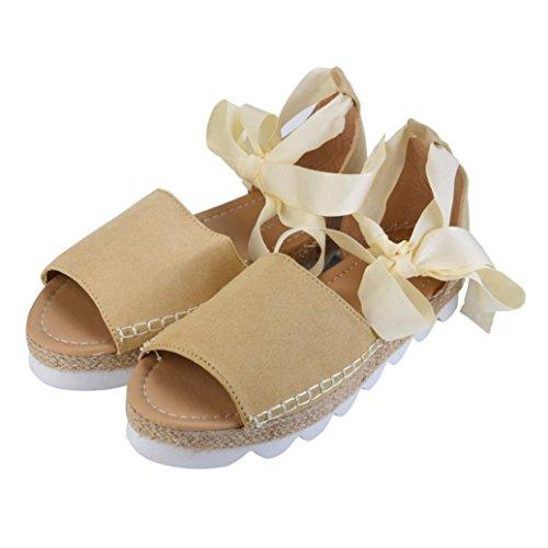 ZycShang Women Sandals Ladies Flat Lace up Espadrilles Summer Chunky Holiday Sandals Shoes Size 6-8.5 Beige lzi9kF1I1