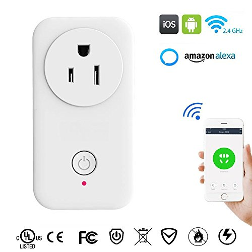 WiFi Smart Plug Mini Wireless Smart Plug Socket Outlet with Energy Monitoring Remote Control Electric Appliance Devices Timer Switch Power Socket Outlet Working with Amazon Alexa Echo