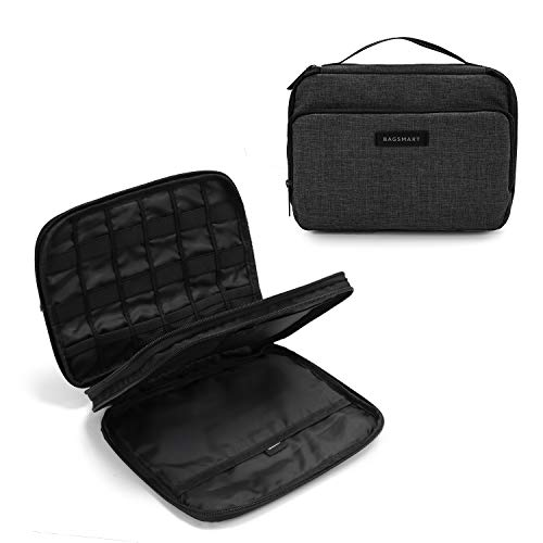 BAGSMART 3-Layer Travel Electronics Cable Organizer with Bag for 9.7″ iPad, Hard Drives, Cables, Charger, Kindle, Black