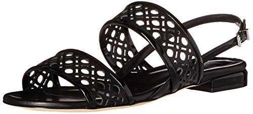 Aquatalia Women's Genevieve Patent Flat Sandal, Black, 7.5 M US