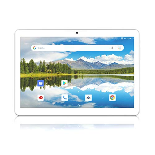 Tablet 10.1 Inch, Android Go 8.1 3G Unlocked Tablets PC with Dual SIM Card Slots, 1+16GB, Quad Core, Dual Camera, 1280x800 IPS Display, 6000mAh Battery, Google Certified, Bluetooth, GPS, WiFi, Silver