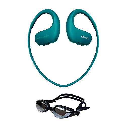 Sony NWWS413LM 4GB Sports Wearable MP3 Player (Blue) Bundle with Swimming Goggles (Anti Fog & UV Protection) (Sony Mp3 Player Waterproof)