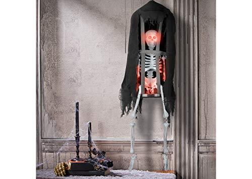 Hyde and Eek! Boutique Animated Hanging Cage with Skeleton Halloween Party & Decorations -