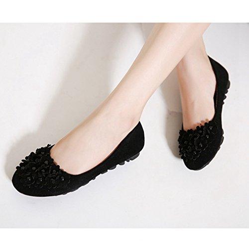 Cybling Casual Slip Op Loafers Schoenen Voor Dames Outdoor Walking Zachte Zolen Bloemen Flats Zwart