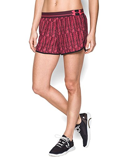 Under Armour Running - UA Print Perfect Pace Shorts - Pantalones cortos de running para mujer Pink Shock/Black