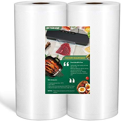 SKYGRAND Vacuum Sealer Bags For Freezer Storage Machine Bags For Food Saver, BPA Free Heavy Duty Pre-Cut Design Commercial Grade luggage for Sous Vide