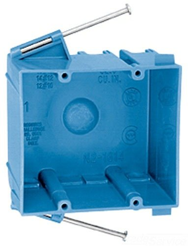 Carlon N2-1614-MNC Outlet Box, New Work, 2 Gang, 4-1/16-Inch Length by 3-5/8-Inch Width by 2-3/4-Inch Depth, Blue