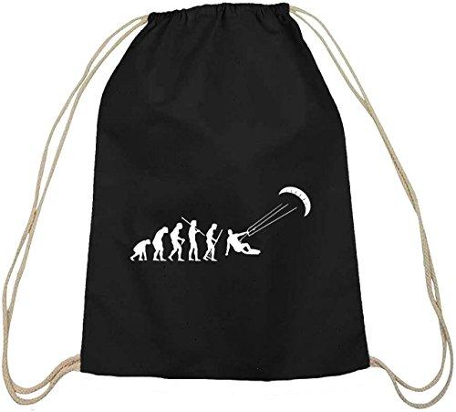 Shirtstreet24, EVOLUTION KITESURFEN,Kitesurfer kiten Baumwoll natur Turnbeutel Rucksack Sport Beutel, Größe: onesize,schwarz natur