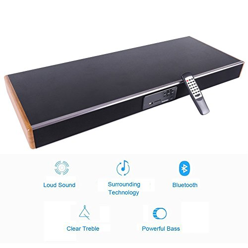 Soundbar with 2 Built-in subwoofer, TRANSPEED Wireless Bluetooth Soundbase 65W HiFi Surround sound bar, 5EQ Mode 2.1 Channel Soundbars Home Theater Party Speakers for TV/echo/phones/tablet/USB 2018 by Transpeed