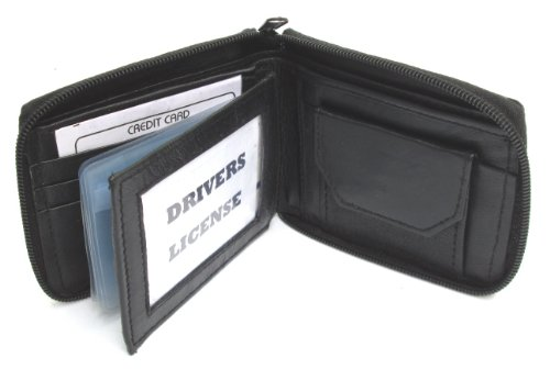 Black Lamb Leather - Mens Black Leather Wallet Lamb Zippered Bifold 782