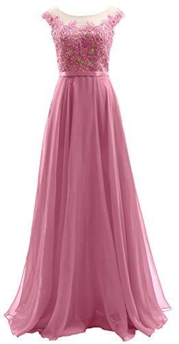 Wedding Party Rosa Chiffon Dress Sleeves Long MACloth Dress Lace Cap Illusion Prom qza81