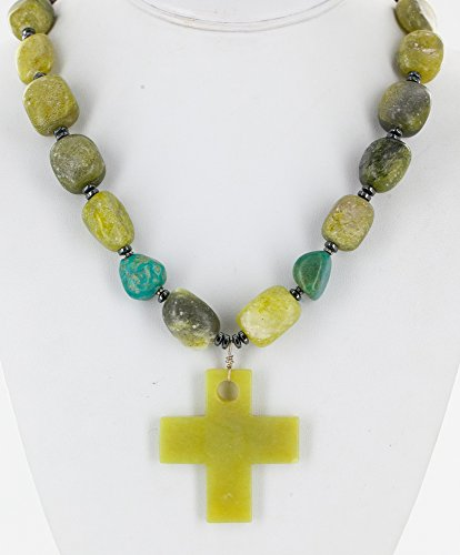 Large Cross Certified Authentic Navajo .925 Sterling Silver Jade Turquoise Native American Necklace