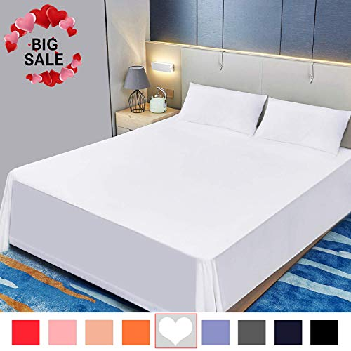 Allo Flat Sheet, Ultra Soft Breathable, Wrinkle Resistant, Hypoallergenic, No Fade, 1500 Thread Count Brushed Microfiber Flat Bed Sheet, 1- Piece (White, King)