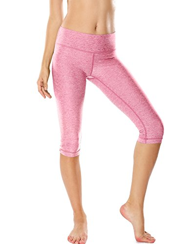 ning Tights Workout Capris Cropped Yoga Pants With Pockets Heather Pink S (4-6) (Capri Cropped Tights)