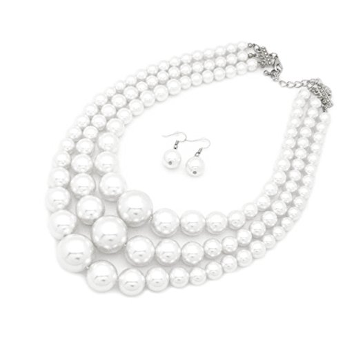 Women's Simulated Faux Three Multi-Strand Pearl Statement Necklace and Earrings Set ()