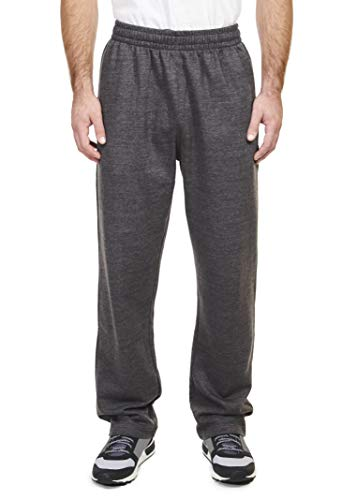 - Spalding Mens Basic Comfort Fleece Open Bottom Sweatpants Athletic Lounge Pants Black Heather Gray Large