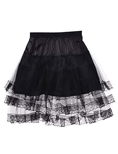 Remedios Mini Sexy Tulle & Lace Crinoline Cocktail Dress Petticoat,Black,S-M