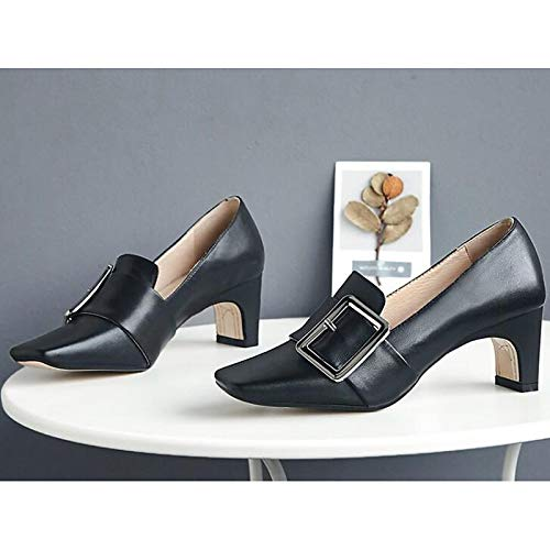 Black Spring White Pump Talones Comfort de Heel Zapatos Nappa Mujer amp; Kitten Black Fall ZHZNVX Leather Marron Basic XqUZv