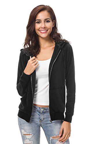 Urban CoCo Women's Full Zip-up Hooded Sweatshirt Long Sleeve Casual Hoodie Jacket (S, Black) ()