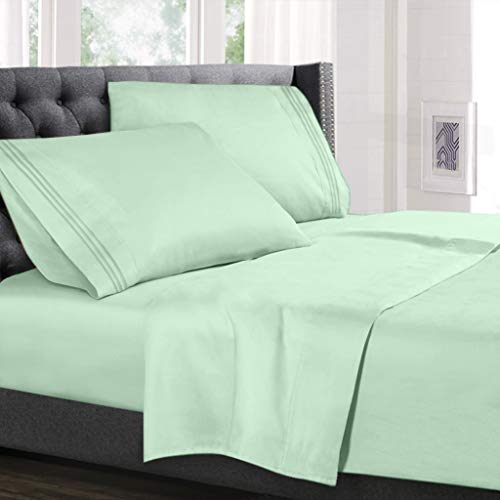 Hearth & Harbor Deep Pocket Fitted Sheet up to 18 inches Bedding Set - Luxury Soft Quality Double Brushed Microfiber, Full XL, Mint Green