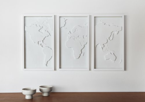 Amazoncom Umbra Mapster Framed Wall Art Set Of 3 Home Kitchen