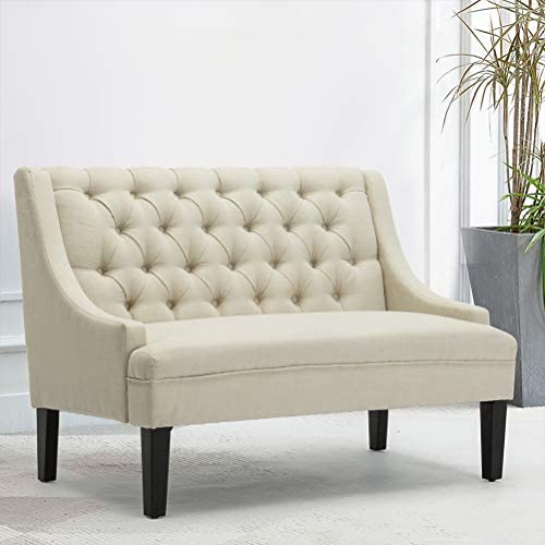 Modern Upholstered Loveseat Settee Bench Upholstered Dining Bench Button Tufted Banquette Sofa Living Room Dining Room Entryway Bench