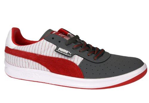 Puma Kalifornien Mens Klassiska Mocka Och Canvas Top Mode Sneaker Philly-grå / Röd / Vit