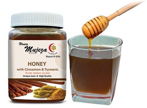 Mujeza Honey with Ceylon Cinnamon & Turmeric 300g /10.6 oz Raw Honey, Unprocessed, Unheated,100% Natural Comes in a Glass Jar (Cinnamon Honey)