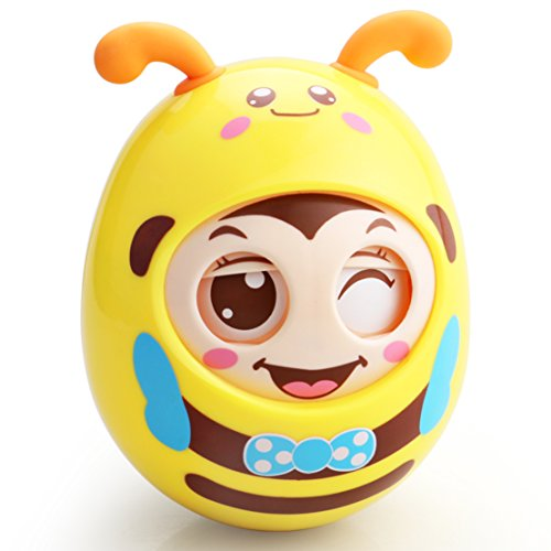 FIGROL Roly-Poly Tumbler Baby Toy,Infant Newborn Teether Toys with Bell Nodding Doll Novelty Educational Toys - for Baby 6-12 Months(Yellow) 41kArCmteRL