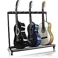 Best Choice Products 7-Guitar Folding Organización de almacenamiento portátil Stand Rack Display Decor para guitarras eléctricas, acústicas y de bajo con rieles de espuma acolchada - Negro