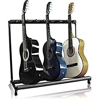 best choice products 7 guitar folding portable storage organization stand rack. Black Bedroom Furniture Sets. Home Design Ideas