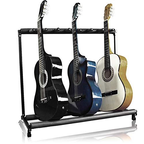 Guitar Holder - Best Choice Products 7-Guitar Folding Portable Storage Organization Stand Rack Display Decor for Acoustic, Bass, Electric Guitars w/ Padded-Foam Rails - Black